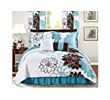 All American Collection New 6pc Printed Reversible Bedspread Set with Dust Ruffle (Queen 6PC, Turquoise/Brown)