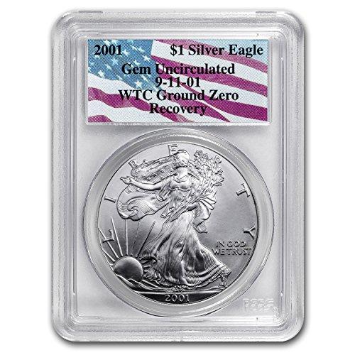 2001 Silver Eagle Gem Unc PCGS (WTC, Ground Zero Recovery) 1 OZ Brilliant Uncirculated PCGS