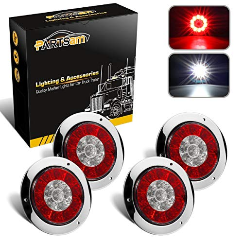 (Partsam 4Pcs 4 Inch Round LED Trailer Tail Lights White Red Flange Mount w Reflectors 16 LED DC 12V Sealed Waterproof Stop Brake Tail Running Reverse Backup Lights Lamps for RV Trailer Trucks)