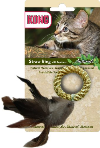 KONG Naturals Straw Ring with Feathers Cat Toy, Colors ()