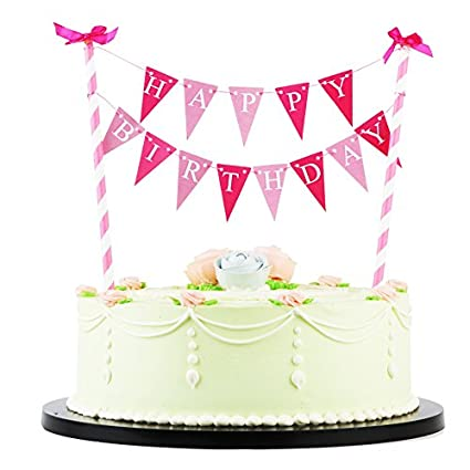 LXZS BH LVEUD Rose Bow Knot Mini Happy Birthday Cake Topper Banner Party
