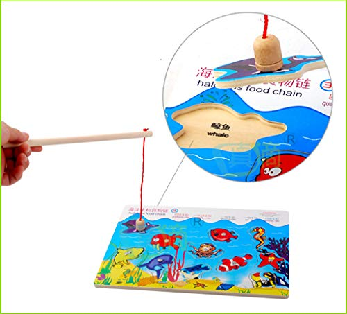 Magnetic Wooden Fishing Toys Game Set for Kids Water Pool Party (11 Wooden Ocean Animal Magnets,1 Fishing Pole) Floating Fish - Toddler Education Learning Color Ocean Sea Animals 3 Year Old