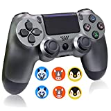 Wireless Controllers for PS4, Wireless Remote Control for Sony Playstation 4, YU33 PS4 Joystick Gamepad for Ps4 Controller with Charging Cable and 3-Packs Thumb Grips, 3rd-Party, 2020,Steel Black (Color: steel black)