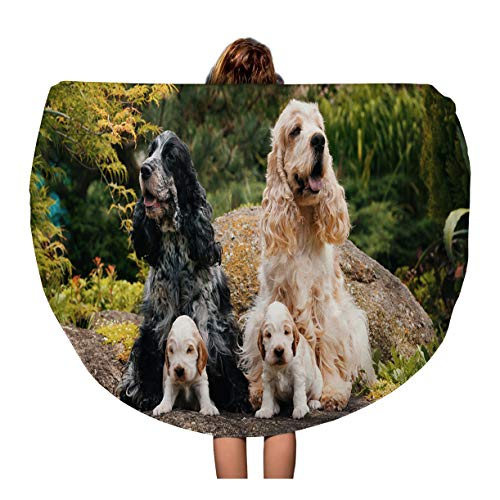 Semtomn 60 Inches Round Beach Towel Blanket English Cocker Spaniel Caring Female and Male Mother Two Travel Circle Circular Towels Mat Tapestry Beach Throw