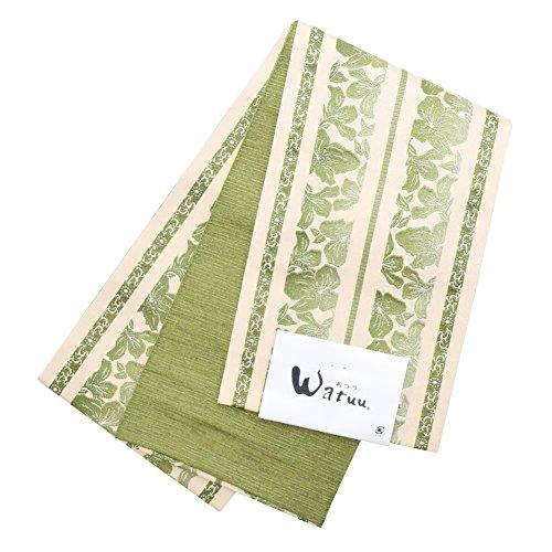 援助腹遮る[和つう] 小袋 半幅帯「緑色 献上風」和つう 小袋帯 浴衣帯 レディース