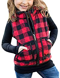 Girls Vest Cute Buffalo Plaid Puffer Quilted Jackets Fall Clothes Winter Warm Lined Gilet