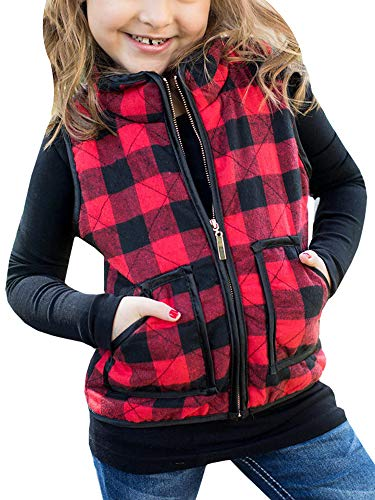 Girls Vest Fall Clothes Winter Warm Coat Plaid Puffer Quilted Outwear Red Size 4-5 T ()
