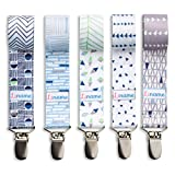 Liname Pacifier Clip for Boys - 5 PACK - Premium Quality & Modern 2-Sided Design - Pacifier Clips Fit all Pacifiers & Soothers - Perfect Baby Shower Gift
