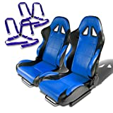 Pair of RST5BKBL Racing Seats+Harness 2'' 4-Point Cam Lock Seat Belt (Blue)