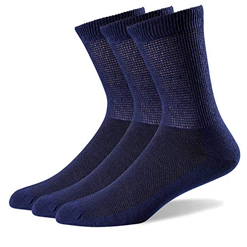 WELL KNITTING Men's Non-Binding Diabetic Ultra Loose Welt Soft and Comfort Coolmax Crew Thin Socks, 3/6 Pairs Size 10-13 (3 Navy)