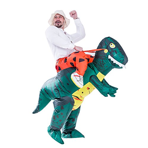 Why Costumes On Halloween (Spooktacular Creations Inflatable Dinosaur Costume Riding a T-REX Air Blow-up Deluxe Halloween Costume (Dinosaur)