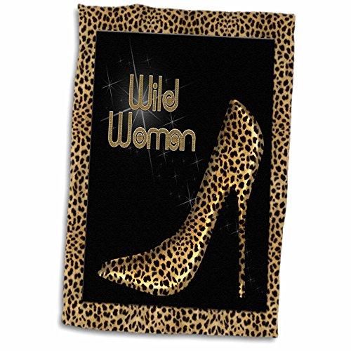 3D Rose Cheetah Print Wild Woman Stiletto Pump and Diamond Bling TWL_21804_1 Towel, 15