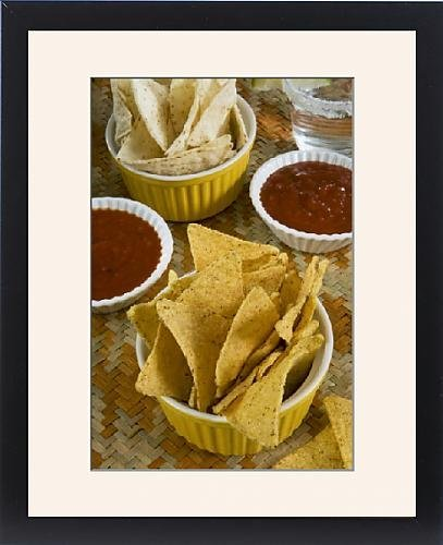 Con Marco Artwork de Nachos (Totopos) (Tortilla Chips) con Chili Salsa,