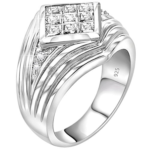 (Men's Sterling Silver .925 Ribbed Ring Featuring a Princess-Cut Invisible Look Cubic Zirconia (CZ) Stone, Platinum Plated Jewelry)