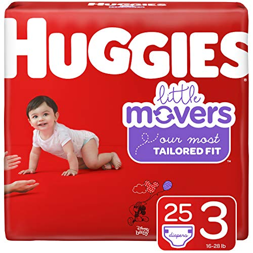 HUGGIES Little Movers Diapers, Size 3 (16-28 lb.), 25 Ct. (Packaging May Vary) for Active Babies
