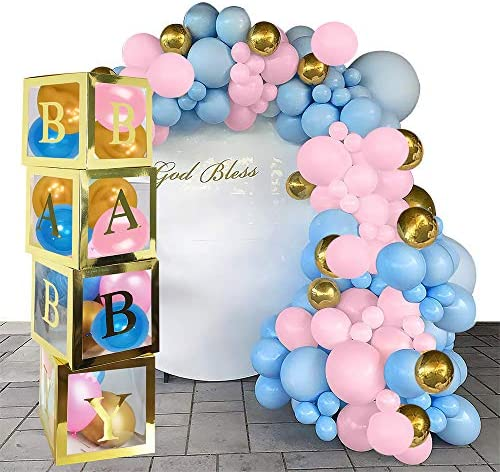 Baby Shower Boxes Party Decorations,4 Pcs Gold Transparent Party Boxes Decor With Gold Letter And 30 Pcs Balloons For 1st Birthday Baby Shower Bridal Shower Gender Reveal Party Decoration Supplies