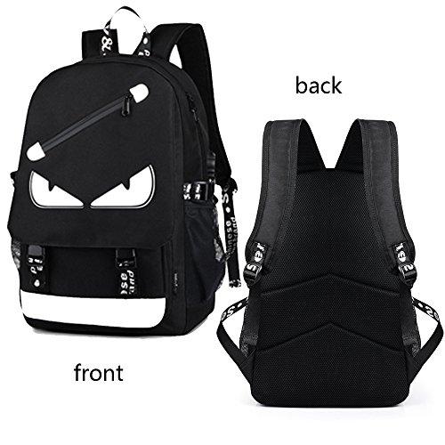 Anime Backpack Luminous Backpack Men School Bags Boys Girls Cartoon Bookbag Noctilucent USB Chargeing port&anti-theft Daybag Women (Evil eye) by VAQM (Image #3)