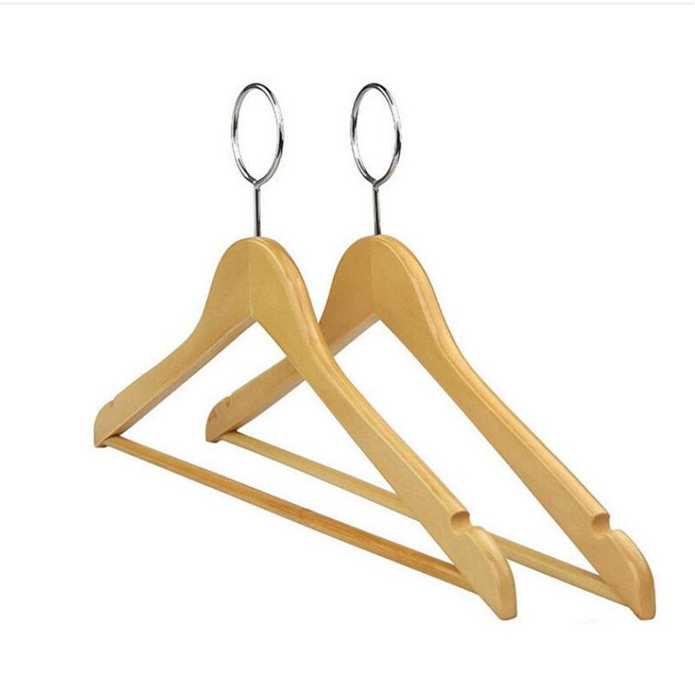 Shuangklei Anti-Theft Wooden Hanger For Hotel Use,With Security Hook (12 Pieces/Lot)