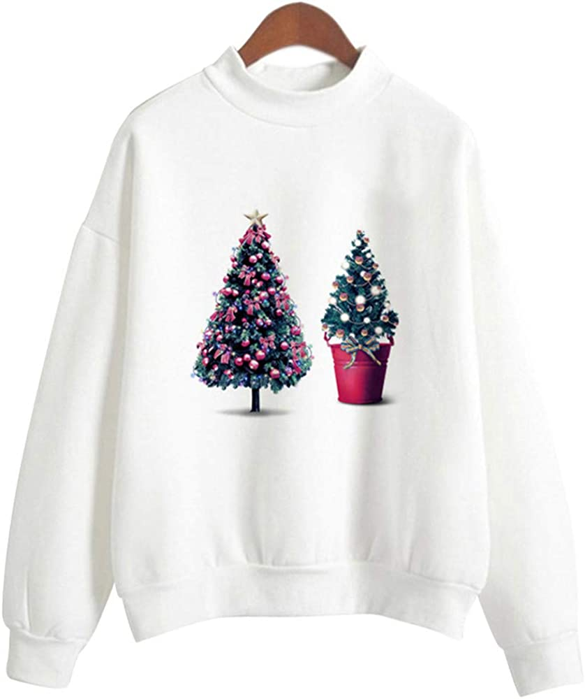YWLINK Damen Schr/äGe Kragen Wei/ß Einfach S/ü/ß Weihnachtsdruck Lange /ÄRmel Sweatshirt Elegant Pullover Tops M/äDchen Mode Blusen Shirt