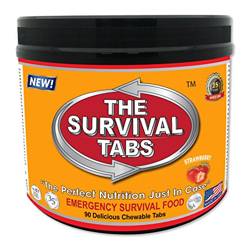 - Survival Tabs 7 Day 90 Tabs Emergency Food Survival Food Meal Replacement MREs Gluten Free and Non-GMO 25 Years Shelf Life Long Term Food Storage - Strawberry Flavor