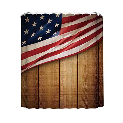 YOLIYANA American Flag Decor Durable Shower Curtain,USA Design on Vertical Lined Retro Wooden Rustic Back Glory Country Image for Hotel,94'' W x72'' H (94 Country With Blue On Its Flag)