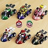 Mario Kart Cars Pull Backs Figure Set (6 pcs) and Keychains (2 pcs