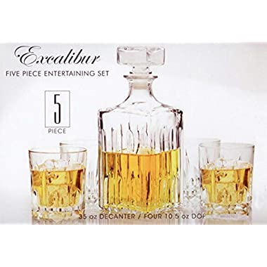 Circleware Italian Made Excalibur 5pc Whiskey Decanter Set