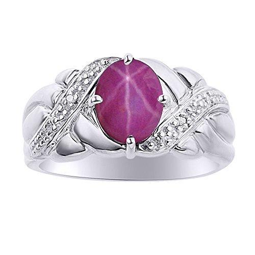 Diamond & Star Ruby Ring Set In 14K White Gold - Color Stone Birthstone Ring