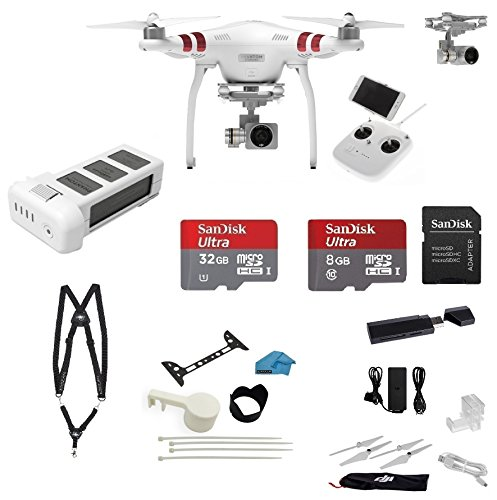 DJI-Phantom-3-Standard-Quadcopter-Drone-with-27K-HD-Video-Camera-EVERYTHING-YOU-NEED-Kit-Snap-on-Guards-SanDisk-32GB-SD-Card-with-USB-30-Card-Reader-More