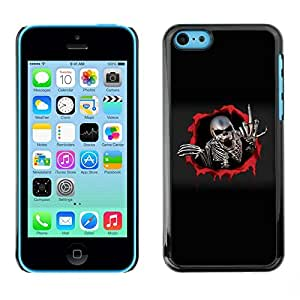 Be Good Phone Accessory // Dura Cáscara cubierta Protectora Caso Carcasa Funda de Protección para Apple Iphone 5C // Metal Skeleton Middle Finger