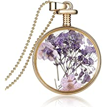 Jiayiqi Women Trendy Lavender Dry Flower Crystal Pendant Necklace Dangle Metal Chain Necklace Jewelry