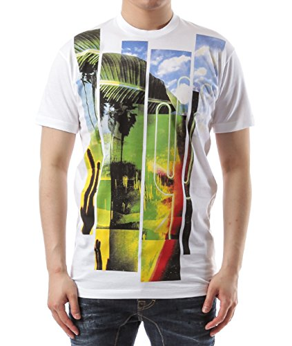 Wiberlux Dsquared2 Men's Colorful Summer-Themed Print T-Shirt L White by Wiberlux