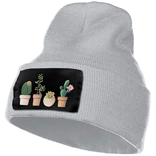 (Beanie Hat Knit Hat Cap Cactus Watercolor Unisex Cuffed Plain Skull Knit Hat Cap Head Cap)