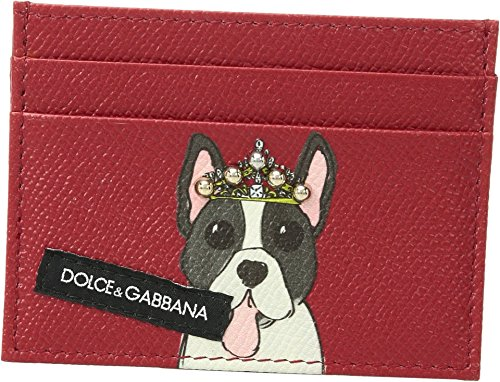 Dolce & Gabbana  Men's Dog Card Holder Red Dog Print One - Wallet Gabbana Mens Dolce