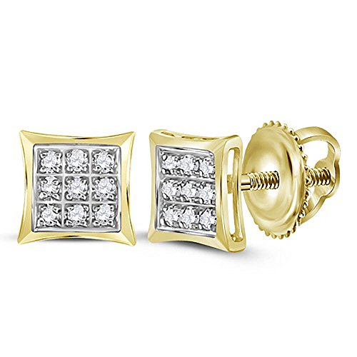 Princess Cut Square Kite Shape Micro-Pave Diamond Stud Earrings | 925 Sterling Silver | Gold Plated ()
