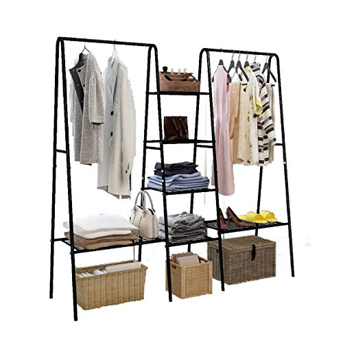 DUMEE Garment Rank Metal Clothing Ranks with 4-Tiers, 6 Shelf Shoe Rack, 2 top crossbars Overhead Bar for Hanging Clothes, Coat Hat Rack and Storage. Durable Metal, Stable, Easy to Assemble. Adds Instant Closet Space
