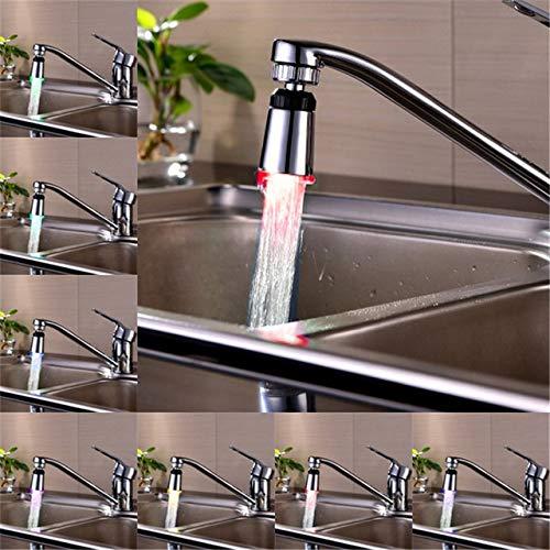 Ochoos LED llave de agua flujo de luz (Aerator para llave) con 7 colores de desvanecimiento lento, 7 colors fading