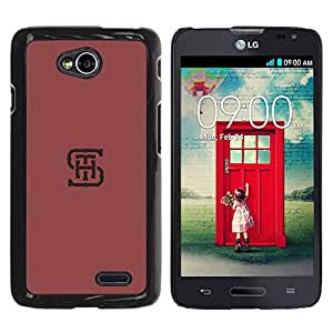 Planetar® ( S H T Initials Letters Maroon Red Minimalist ) LG Optimus L70 / LS620 / D325 / MS323 Fundas Cover Cubre Hard Case Cover