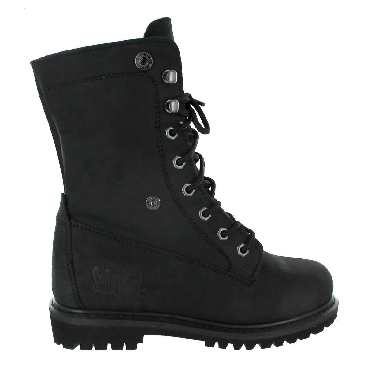 Safety Girl GS008-BLK-ST-11M Madison Fold-Down Work Boot Black English Leather Capacity Black Steel Toe 11M Volume 11M
