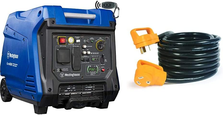 Westinghouse iGen4500 Super Quiet Portable Inverter Generator 3700 Rated & 4500 Peak Watts & Camco (55191) 25' PowerGrip Heavy-Duty Outdoor 30-Amp Extension Cord for RV and Auto