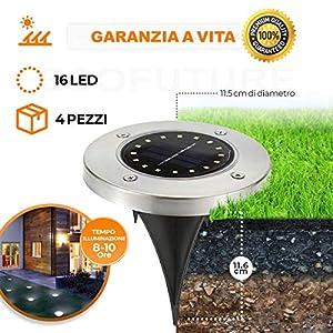 【GARANZIA A VITA】4 Pezzi, Luce Solare da Giardino 16 LED Luce 100LM,600mAh Batteria Integrata Impermeabile IP65 Lampada… 4 spesavip