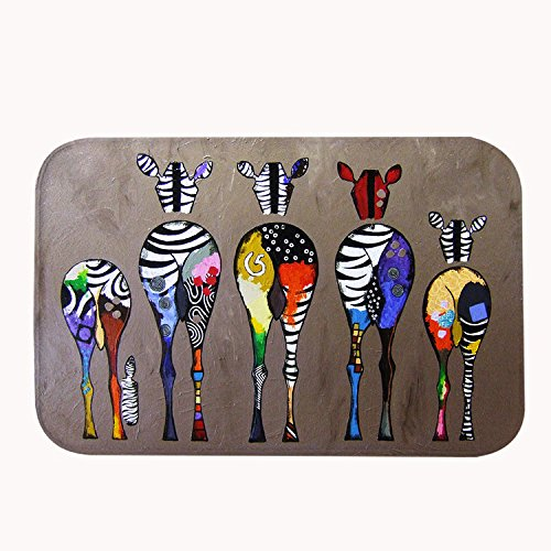 Poppylife Multicolor Animal Zebra Paintings Enterway Floor Decoration Indoor Bath Rug Door Mat Red Color 20