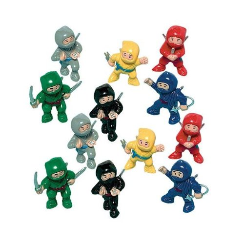 Amscan Fun-Filled Birthday Party Mini Ninja Action Figure Favour (Pack of 12), Multicolor, 1 7/8