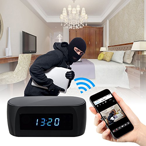 Camakt HD 1080P WiFi Hidden Spy Alarm Clock Camera Night Vision with Motion Detector,Intercom and 160 Degree Wireless Security Nanny Camera