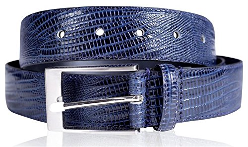 Reptile Buckle Belt (Click Selfie New Mens 35mm Wide Real Reptile Skin Leather Pin Buckle Belts Navy Blue - Fashion Waist Strap Belts)