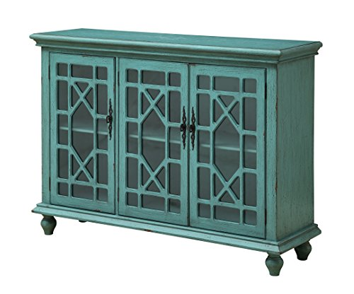 Treasure Trove Accents Three Door Media Credenza, Bayberry Blue Rub-through - Vibrant bayberry Blue textured Three door. Made in China Cords and Media cables access - sideboards-buffets, kitchen-dining-room-furniture, kitchen-dining-room - 51LvZlK8SvL -