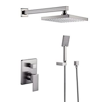 KES Bathroom Shower Faucet Set Brushed Nickel Single Handle Brass
