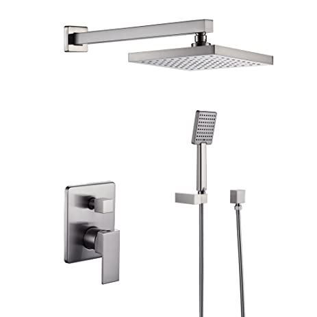 Delightful KES Bathroom Shower Faucet Set Brushed Nickel Single Handle Brass Rough In  Valve Body Hand