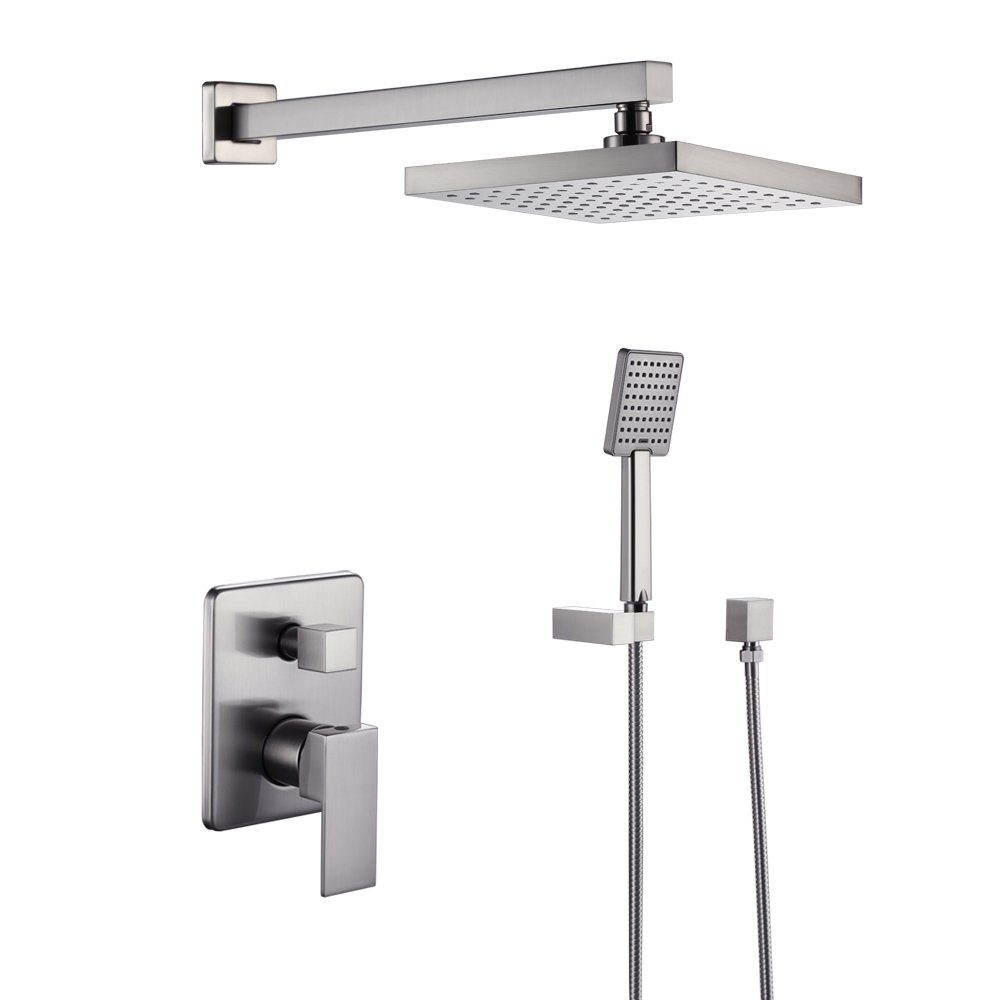 KES Bathroom Shower Faucet Set Brushed Nickel Single Handle Brass Rough-in Valve Body Hand Shower Trim Arm and Showerhead Supply Albow Complete Kit Modern Square, X6223-2