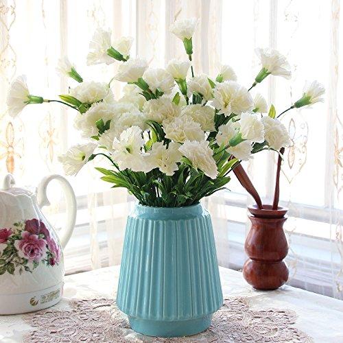 Flores Artificiales Claveles Blancos Jarrones De Porcelana Azul ...